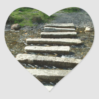 Granite Stepping stones across a river Heart Sticker