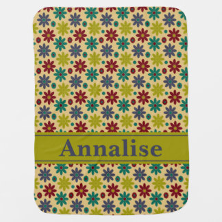Granny Flowers and Polka Dots Personalized Baby Blankets