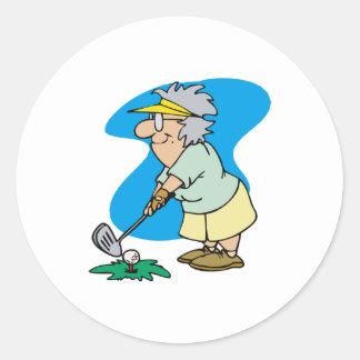 Granny Golfer Round Sticker