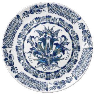 Granny's Blue Floral Vintage China in 3D Porcelain Plates