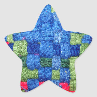 Granny's Woven Potholder Pattern Star Sticker