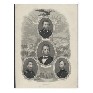 Grant, Lincoln, Sheridan, Sherman Postcard