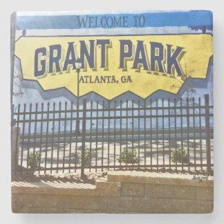 Grant Park, Atlanta, Welcome, Blue Mural, Coasters Stone Beverage Coaster