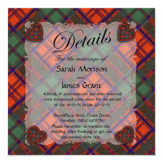 Grant Scottish clan tartan - Plaid 13 Cm X 13 Cm Square Invitation Card