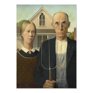 Grant Wood - American Gothic 13 Cm X 18 Cm Invitation Card