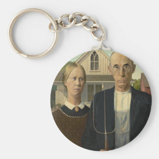 Grant Wood American Gothic Basic Round Button Key Ring