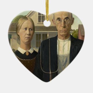 Grant Wood American Gothic Christmas Tree Ornaments
