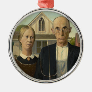 Grant Wood - American Gothic Silver-Colored Round Decoration