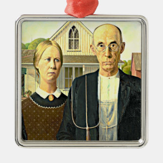 Grant Wood - American Gothic, famous Americana art Silver-Colored Square Decoration
