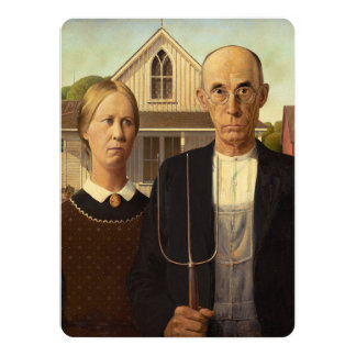 Grant Wood American Gothic Fine Art Painting 14 Cm X 19 Cm Invitation Card