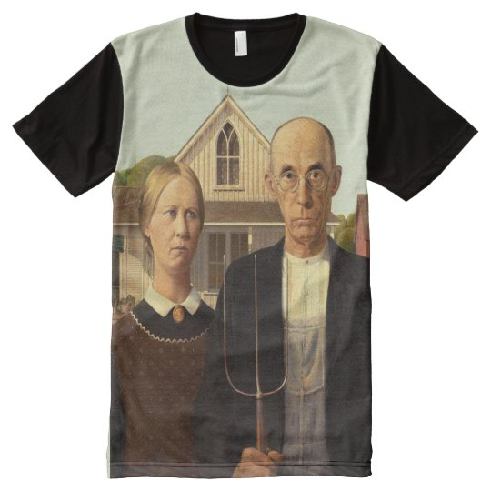 Grant Wood American Gothic Fine Art Painting All-Over