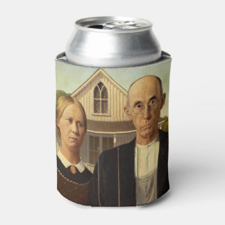 Grant Wood American Gothic Fine Art Painting Can Cooler