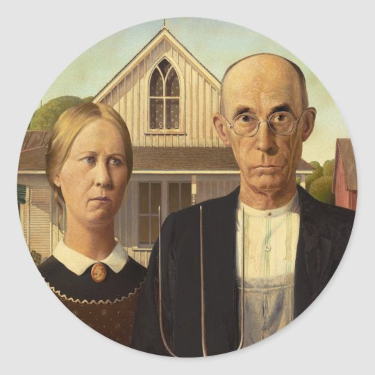 Grant Wood American Gothic Fine Art Painting Classic