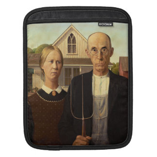 Grant Wood American Gothic Fine Art Painting iPad Sleeve
