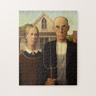 Grant Wood American Gothic Fine Art Painting Jigsaw Puzzle