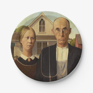 Grant Wood American Gothic Fine Art Painting Paper Plate