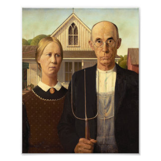 Grant Wood American Gothic Fine Art Painting Photograph