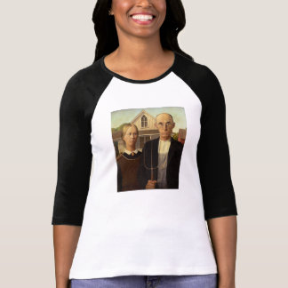 Grant Wood American Gothic Fine Art Painting T-Shirt