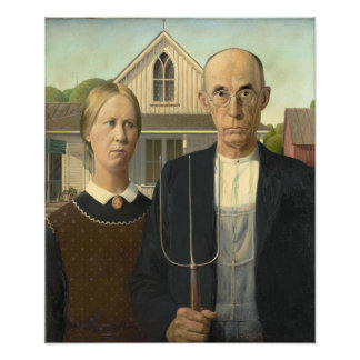 Grant Wood - American Gothic Photographic Print