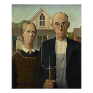 Grant Wood - American Gothic Poster