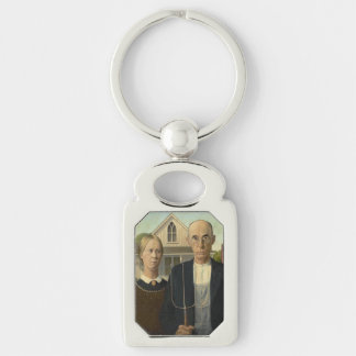 Grant Wood - American Gothic Silver-Colored Rectangle Key Ring