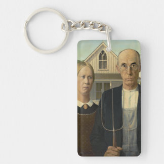 Grant Wood - American Gothic Single-Sided Rectangular Acrylic Key Ring