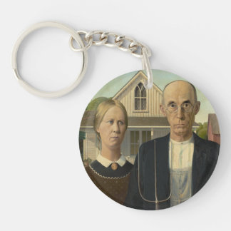 Grant Wood - American Gothic Single-Sided Round Acrylic Key Ring