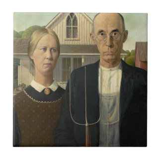 Grant Wood American Gothic Small Square Tile