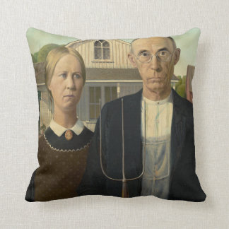 Grant Wood American Gothic Throw Pillow