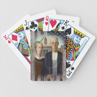Grant wood s American Gothic on American Flag Bicycle Card Decks