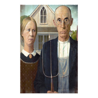 Grant wood s American Gothic on American Flag Personalized Stationery