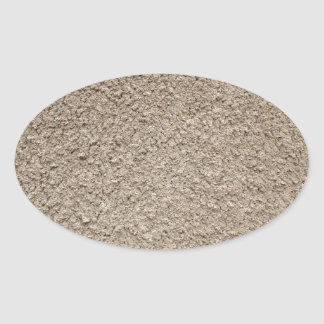 Granular surface of the cement beige oval sticker