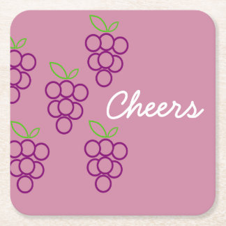 Grape Clusters in Pink and Purple Square Paper Coaster