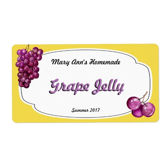 Grape Jelly Canning Labels