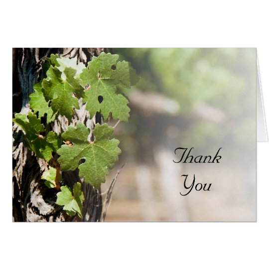 Grape Leaves Vineyard Thank You Card
