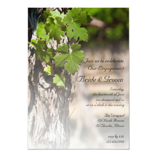 Grape Leaves Vineyard Winery Engagement Party 13 Cm X 18 Cm Invitation Card