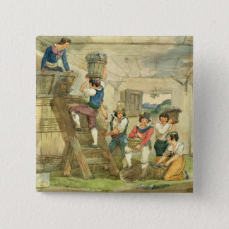 Grape-pickers carrying grapes to the press 15 cm square badge