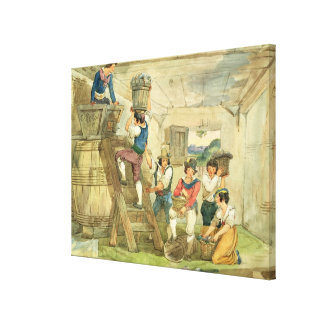 Grape-pickers carrying grapes to the press canvas print