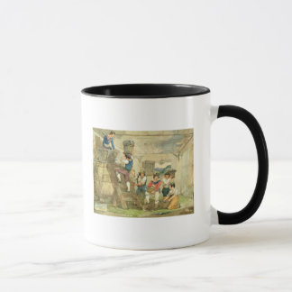 Grape-pickers carrying grapes to the press mug