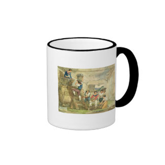 Grape-pickers carrying grapes to the press coffee mug