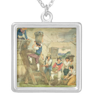 Grape-pickers carrying grapes to the press silver plated necklace