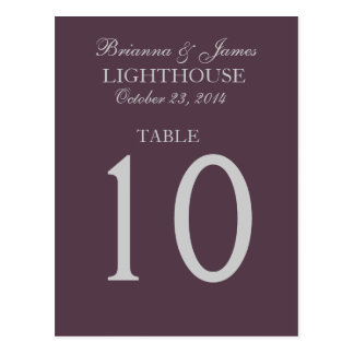 Grape Purple and Silver Wedding Table Number Card Postcard