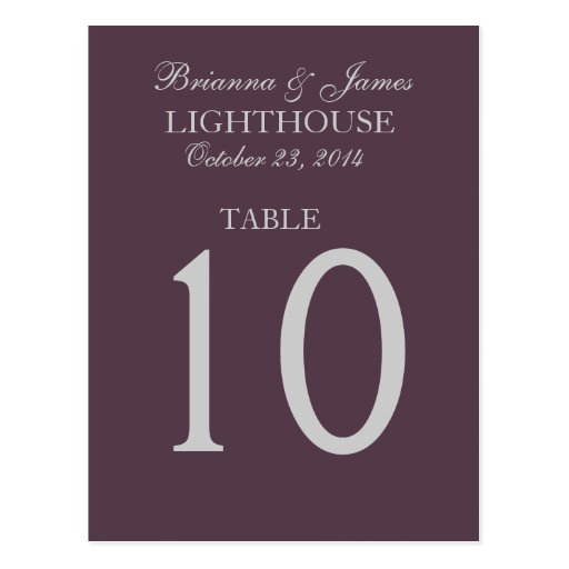 Grape Purple and Silver Wedding Table Number Card Post Cards