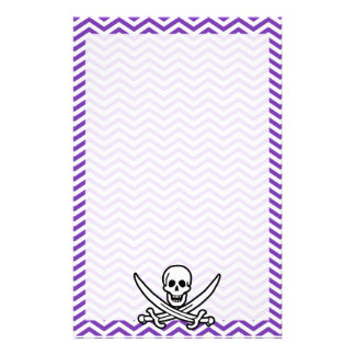 Grape Purple Chevron Stripes; Jolly Roger Personalized Stationery