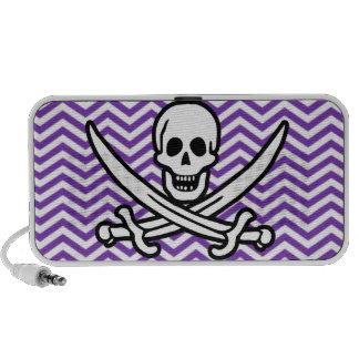 Grape Purple Chevron Stripes Jolly Roger Mp3 Speaker