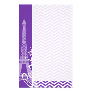 Grape Purple Chevron Stripes; Paris Customised Stationery
