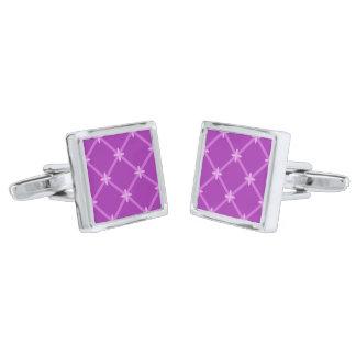 Grape, Purple Criss-Cross Pattern Silver Finish Cufflinks