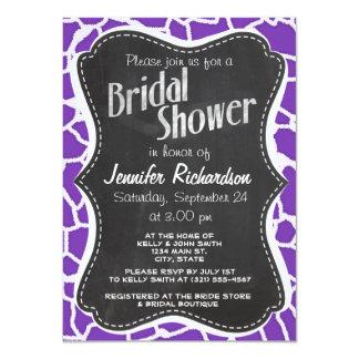 "Grape Purple Giraffe Animal Print; Chalkboard look 4.5"" X 6.25"" Invitation Card"