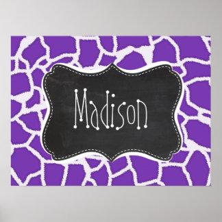 Grape Purple Giraffe Animal Print; Chalkboard look