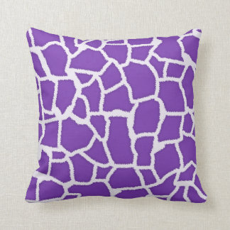 Grape Purple Giraffe Animal Print Throw Pillow